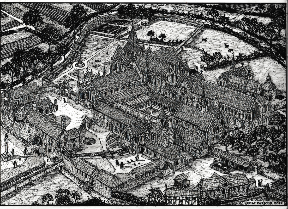 Reconstruction drawing of Dunkeswell Abbey, Devon