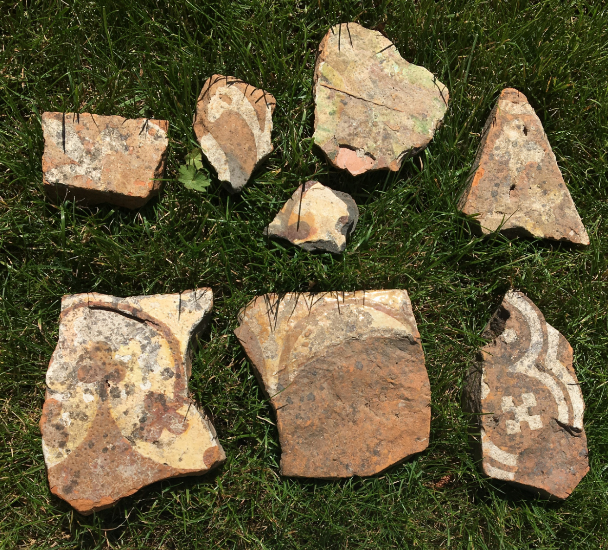 Floor Tile Fragments from Rover Walking at Dunkeswell Abbey